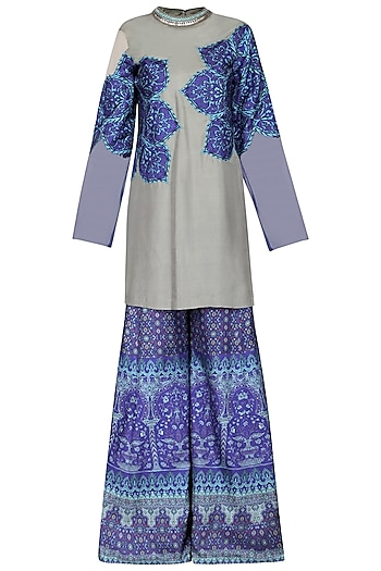 Grey and Blue Applique Kurta with Printed Sharara Pants Set by Ashima Leena