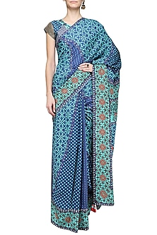 Blue Printed Triangle Saree with Embellished Blouse by Ashima Leena