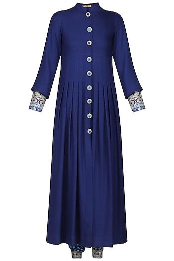 Blue Printed Kurta with Pants and Long Jacket by Ashima Leena