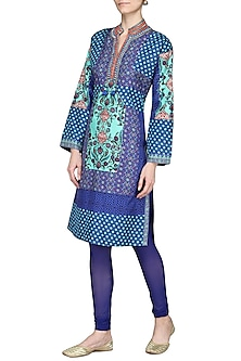 Blue Printed Tunic with Churidar Pants by Ashima Leena