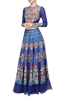 Blue Embellished Crop Top with Lehenga Skirt by Ashima Leena