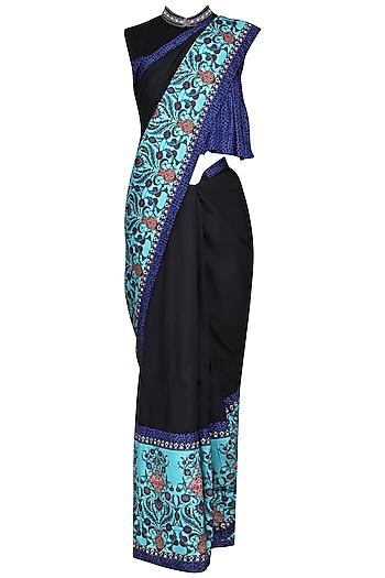 Blue and Black Printed Saree with Embellished Shirt Blouse by Ashima Leena