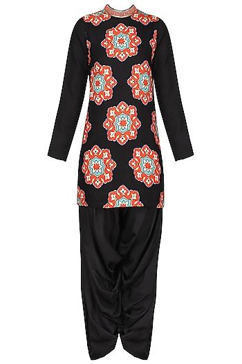 Black Applique Kurta with Salwar Pants by Ashima Leena