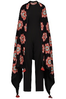 Black Jumpsuit with Applique Pashmina Shawl by Ashima Leena