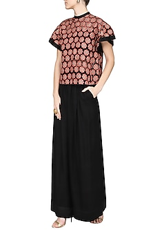 Red and Black Applique Top with Flared Pants by Ashima Leena