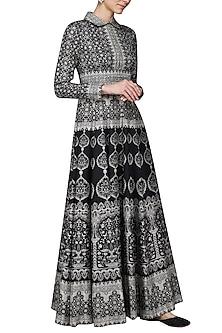 Black Printed Maxi Dress by Ashima Leena