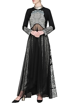 Black Embroidered Kurta with Dhoti Pants by Ashima Leena