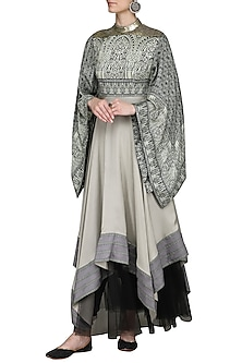 Grey and Black Asymmetrical Anarkali by Ashima Leena