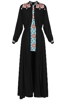 Black Appliqued Cape with Kurta and Pants by Ashima Leena