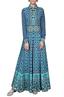 Blue Tassel Embellished Printed Maxi Dress by Ashima Leena