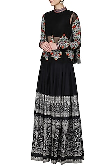 Black Embellished Top with Panelled Skirt by Ashima Leena