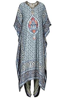 Blue Printed Kaftan with Grey Dhoti Pants by Ashima Leena