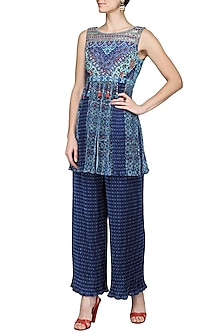Blue Printed Top with Crimpled Pants by Ashima Leena