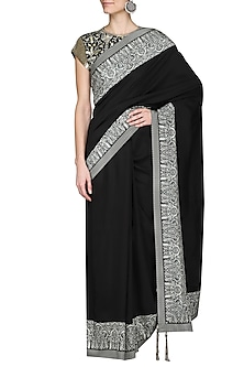 Black Printed Saree with Embellished Blouse by Ashima Leena