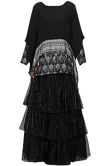 Black printed short kurta, kaftan cape and layered organza skirt set by Ashima Leena