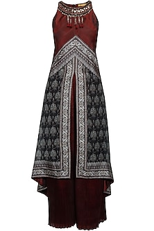 Black and maroon brocade textured high low tunic and pleated palazzo pants set by Ashima Leena