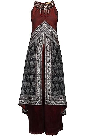 Black and maroon brocade textured high low tunic and pleated palazzo pants set by Ashima Leena