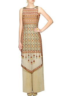 Beige kilim printed kurta and pleated palazzo pants set by Ashima Leena