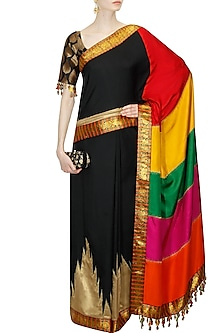 Black brocade saree with multicolour panelled pallu by Ashima Leena