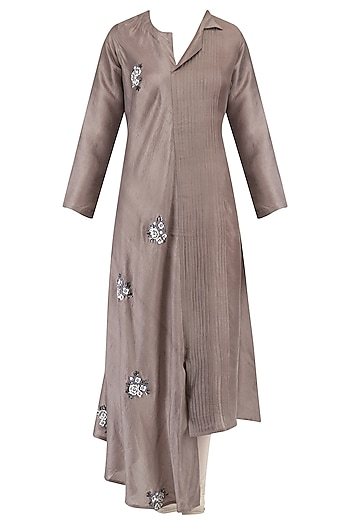 Brown Floral Embroidered Tunic by Aaylixir
