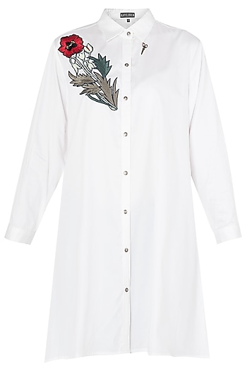 White Floral Embroidered A-Line Shirt by Aaylixir