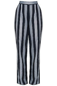 Indigo Blue Striped Straight Pants by Aaylixir