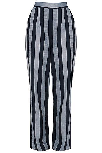 Indigo Blue Striped Straight Pants by Aaylixir