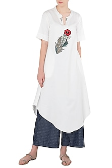 White Floral Embroidered Asymmetrical Tunic by Aaylixir