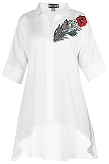 White Floral Embroidered High-Low Shirt by Aaylixir