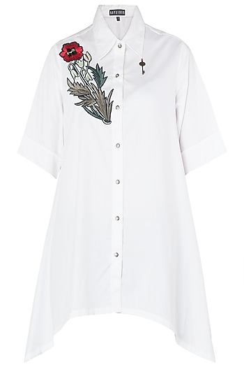 White Floral Embroidered Asymmetrical Shirt by Aaylixir