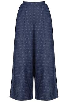 Indigo Blue Dotted Wide Leg Pants by Aaylixir