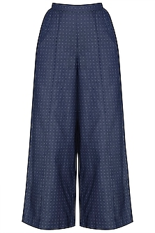 Indigo Blue Dotted Wide Leg Pants by Aaylixir