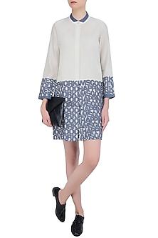 Off White Chanderi Pintuck Shirt Dress by Aaylixir