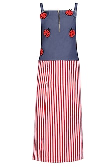 Blue and Red Lady Bug Motifs and Striped Dress by Aaylixir