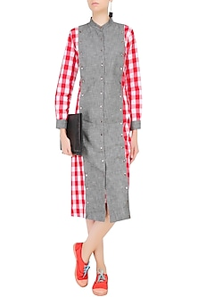 Red and White Checks and Grey Denim Dress by Aaylixir