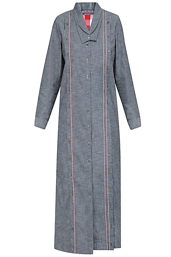 Grey Double Collared Denim Shirt Dress by Aaylixir