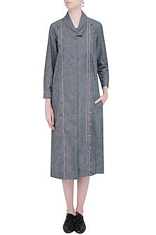 Grey Double Collared Denim Shirt Dress by Aaylixir