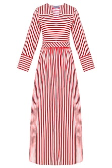 Red and White Stripes Fit and Flared Maxi Dress by Aaylixir