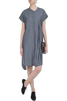 Grey Short Dress With Blue and Grey Sprayed Dots by Aaylixir