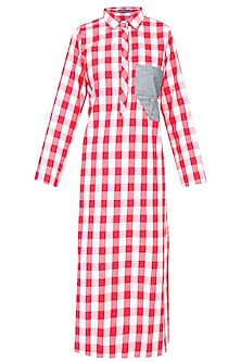 Red and White Checkered Dress With Denim Pocket by Aaylixir