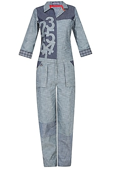 Blue Denim Collared Jumpsuit by Aaylixir