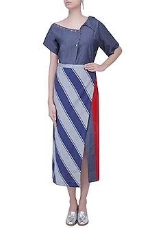 Blue Stripes Print Wrap Around Skirt by Aaylixir