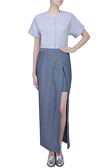 Grey Denim Sprayed Denim Skirt by Aaylixir