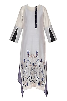 White Dragon Fly Embroidered Tunic by Aaylixir