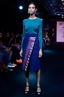 Dark Blue Sequins Embellished High Slit Denim Skirt by Aaylixir