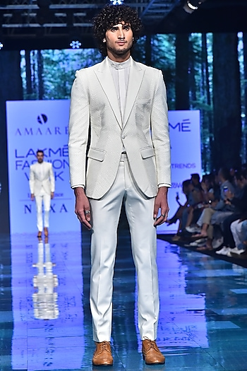 Ivory & Black Pintucked Tuxedo Suit by Amaare