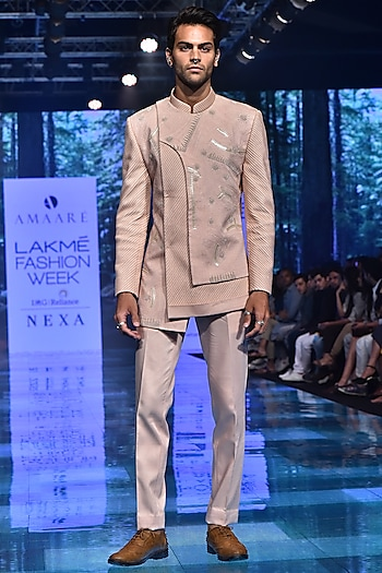 Rose Gold Embroidered Bandhgala Jacket With Trousers by Amaare
