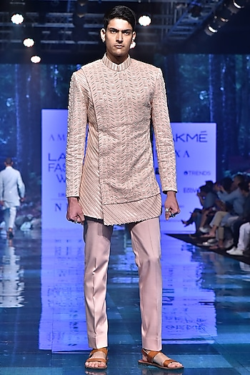 Peach Embroidered Bandhgala Jacket With Trousers by Amaare
