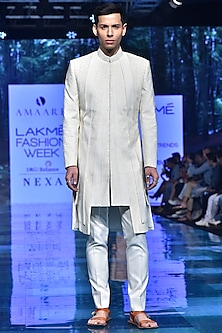 Ivory Embroidered Long Jacket With Trousers by Amaare