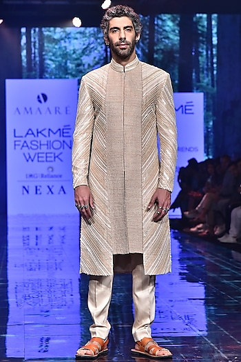 Rose Gold Embroidered Sherwani Set by Amaare